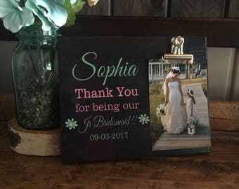 Flower Girl Thank You Gift, Thank You For Being Our Jr Bridesmaid, Personalized Picture Frame, Wedding Party Gift
