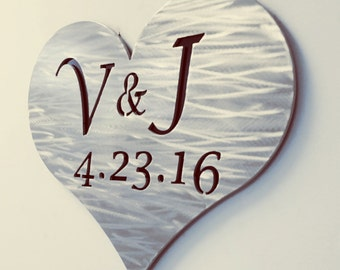Personalized Metal Sign for Save the Date or Wedding/ Anniversary/ Engagement Gift - Your Initials and Date