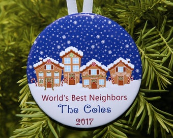 World's Best Neighbors - Neighbor Ornament - Gingerbread Houses - personalized - C248