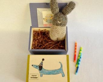 Birthday Box, Kids Birthday Gift, Keepsake Box, Weiner Dog, Kids Birthday Decor