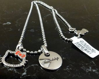 Vintage Sanrio Hello Kitty Sterling Silver Double Pendant and Necklace
