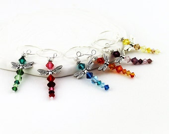 Dragonfly Wine Charms - Set of 6, Swarovski Crystals, Blue, Green, Orange, Purple, Red, Yellow Beaded Rings for Stemware, Gold or Silver