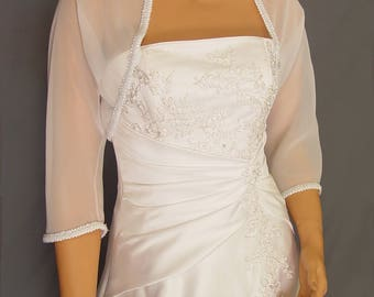 Chiffon bolero jacket 3/4 sleeve trimmed shrug wedding wrap bridal cover up CBA204 AVL IN white and 4 other colors. Small - Plus size!