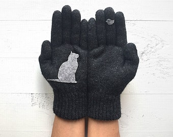The Pet Gift, Cat Gloves, The Pet Gloves, Pet Lover Gift, Mother's Day Gift, Cat Lover Gift, Gift For Her, Women Gloves, Animal Gloves, Cats
