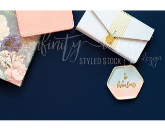Blue Horizontal Styled Stock Product Photography Background w/Pink Notebook, Journal, Pens, Wallet, Jewelry Holder / High Res File #INF117SS