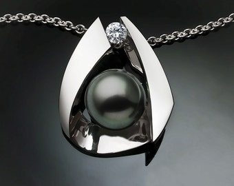 pearl necklace, Tahitian cultured pearl, June birthstone, black pearl pendant, statement necklace, white sapphire, Argentium silver - 3455