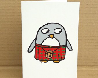Kilty penguin card - Scottish card - Penguin Birthday card - Quirky card - blank inside