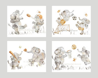 Set of 4 Sports Prints, Sports elephant Prints, Sports nursery prints, boy's nursery decor, elephant nursery art, baby boy gift