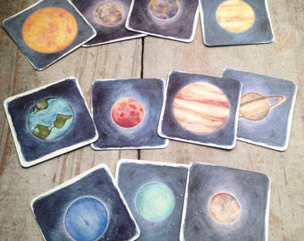Solar System Memory Matching Game Educational Game Children's Gift Planets Outer Space Sun and Moon