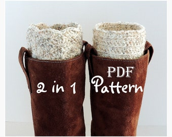 PDF CROCHET PATTERN - Make It Yourself:  Pattern for 2 in 1 Boot Cuffs, Fan or Line Design, Digital Download, Lots of Photos