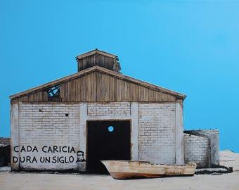 Amor de Pescador, Original Acrylic Painting on Canvas, 18 x 24 in.