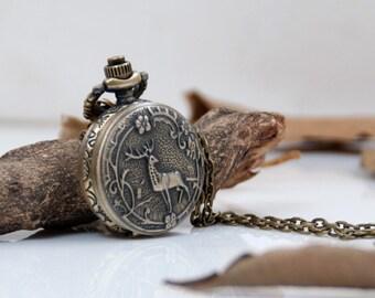1 Pocket Watch Necklace Watch Classic Watch Wedding Gift Watch Clock Watch Deer Clock Watch-C264