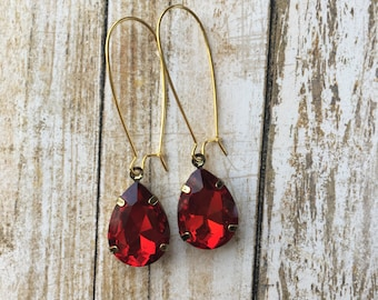Red Vintage Inspired Drop Earrings