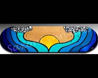 Ocean Wave Wall Art | Gift For Surfer Girl | Personalized Gift | Skateboard | Wave Painting | Ocean Painting | Waves | Surfing Art |Wall Art