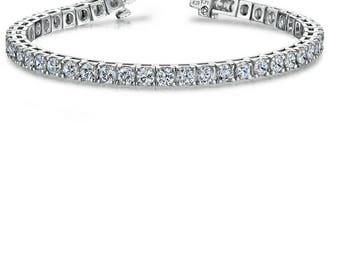 6.15CT VS1 - SI1 14K White Gold Women's Diamond Tennis Bracelet 7'' Inches #BRC2
