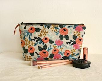Floral makeup pouch, waterproof lining, makeup bag,toiletry bag,  cotton zipper bag, organizer, large pouch - Ready