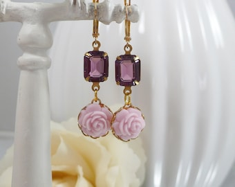 Earrings with Vintage Glass Gems and Pink Roses