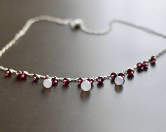 Natural Chalcedony and Garnet Sterling Silver Necklace