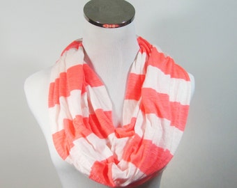 SCARF SALE.Coral Scarf, Coral Infinity Scarf, Coral Striped Scarf.Striped Coral Scarf. loop Scarf.Circle Scarf. Infinity Scarf.