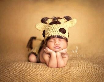 Baby Giraffe Photo Prop/Giraffe Hat and Diaper Cover/Newborn Photo Prop