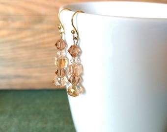 Peach pink Swarovski crystal dangle drop linear beaded wire earrings