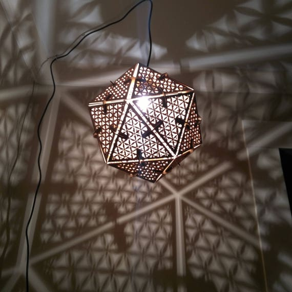 Icosahedron Flower of Life - Hanging Pendant Shadow Lamp