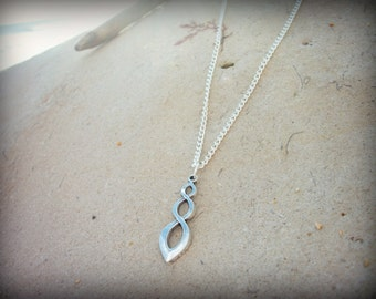 Twist infinity swirl silver plated necklace