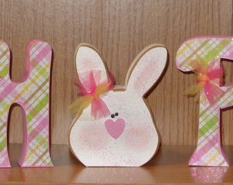 Easter Decor- Spring Decor- Bunny Decor- Hop Letters with Bunny