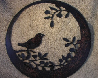 Wren Sitting on Olive Branch  - Metal art