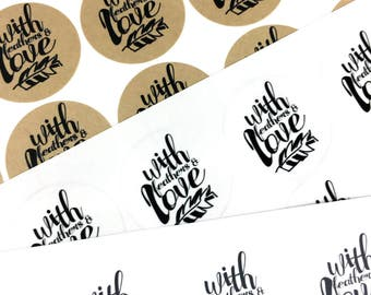 With Feathers and Love Labels / Black and White Packaging Stickers / Feather Thank You Label / Business Wedding Inspirational Sticker Labels