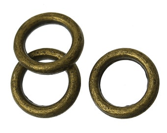 Closed, Soldered Jump Rings, 6mm, Antique Brass/Bronze Finish, 50 count (JRC-6-AB)