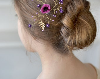 Purple floral hair pin Purple flower hair pin Bridal head piece Purple hair vine Pearl hair back Wedding piece