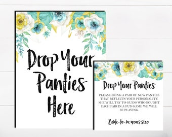 Drop Your Panties Here The Panty Game Lingerie Bachelorette Game Floral Mint Gold Panty Guess Game Lingerie Guess Game Printable Game