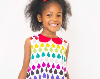 Children clothing - Rainbow Raindrops a-line dress girl baby toddler dress..sizes 6months-1 -2-3-4-5 kids children dress girlsandboys