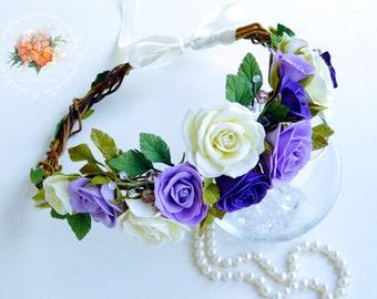 roses wreath, roses headband, flower headband, ivory roses wreath, bride roses wreath, flower accessory, bridesmaid wreath, purple rose
