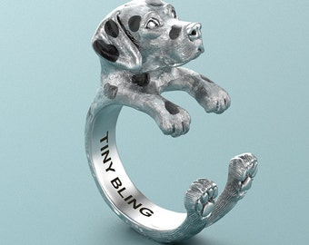 Handmade Dalmatian Ring in Oxidized 925 Sterling Silver. For all the Dog, Puppy, and Pet Lovers.