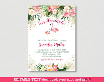 Tropical Flamingo Baby Shower Invitation / Floral Baby Shower / Tropical Baby Shower / Editable PDF INSTANT DOWNLOAD A454