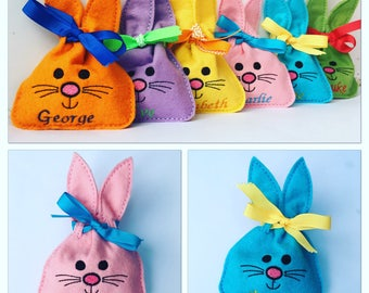 Small Personalised Easter Bunny Gift Bag, Favour Bag, Easter Egg bag, Easter Egg Hunt, Bunny Bag, Easter Egg Hunt, Easter Gift, Easter Bag