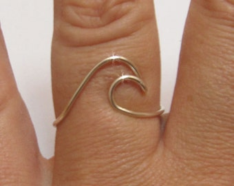 Sterling silver Wave Ring/Surf ring/jewelry/ wire wave ring/wire surf ring/silver wire ring/friend gift/surf/personalized ring