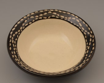 Graphic Black and White Small Dish / Bowl with Dashed Sgraffito Rim