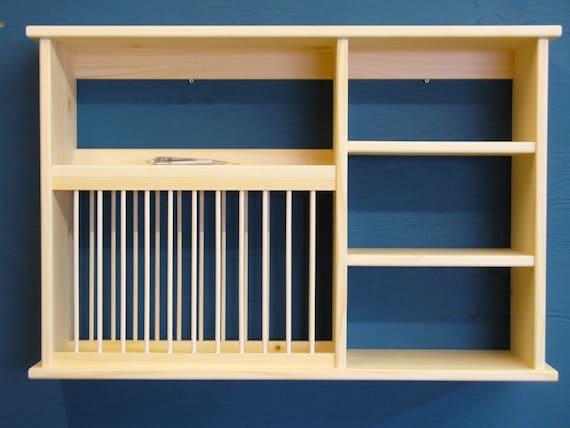 NEW Triple shelf wood plate dish rack glasses spices organizer