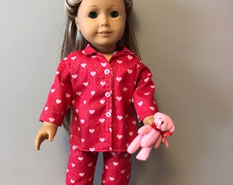 MAny Hearts Pajamas  with Pink Bear for 18 inch dolls