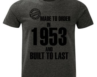 1953 Birthday T-Shirt. Made to Order/Built to Last design. Mens Charcoal Marl Grey.