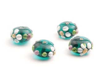 Lot (4) 17mm Vintage Czech pink floral overlay green rondelle lampwork glass beads 2421-126