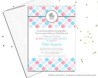 Gender Reveal Baby shower invitations | gender reveal party | gender reveal invitations | printable or printed - WLP00760