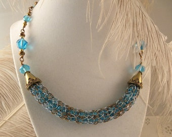 Aqua and Bronze Wire Viking Knit Necklace and Earrings