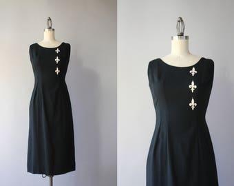 1950s Dress / Vintage 50s 60s Fleur-de-lis Black Linen Dress / 1960s Black and White Wiggle Dress