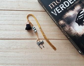 Bookmark metal gold/cat/tassel