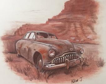 Old Rusty Antique Auto in Desert