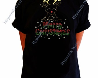 """Girls Rhinestone T-Shirt """" Merry Christmas Rudolph the Red Nose Reindeer """" Kids Size 3 to 14 Available"""